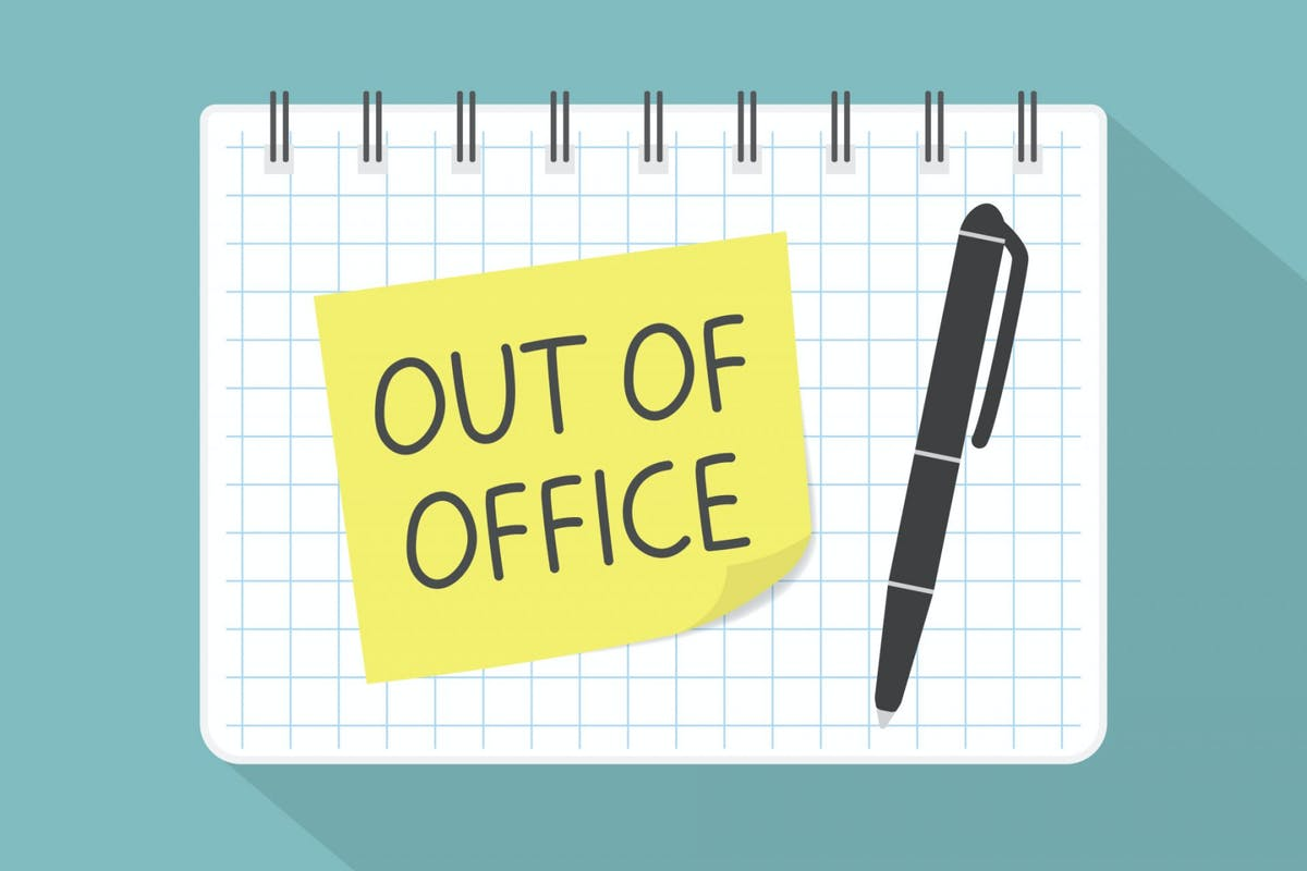 """An illustration of a notebook with a post-it note with reads """"out of office"""""""
