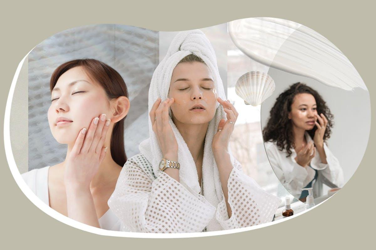 3 women moisturising faces in mirror