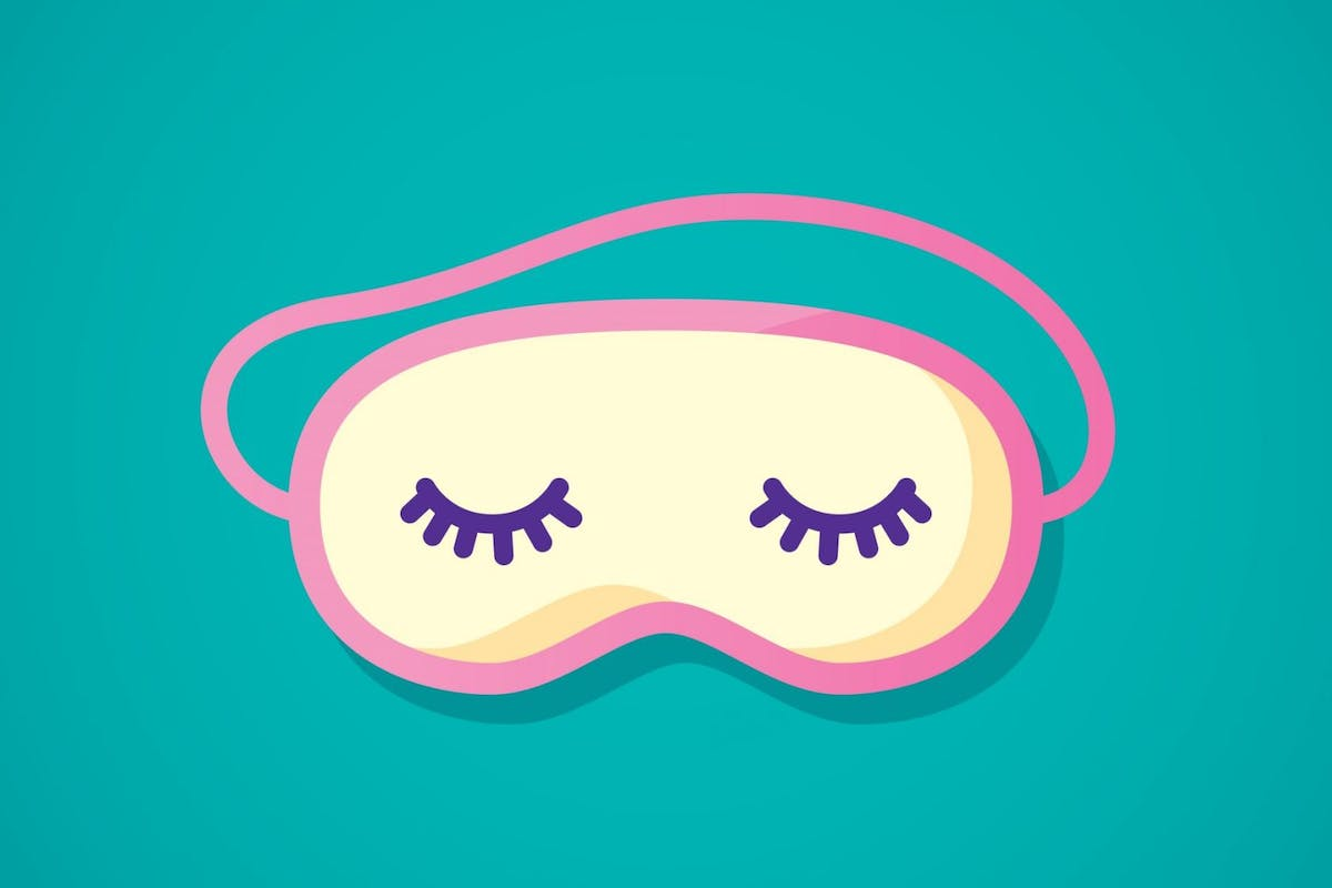 Vector illustration of a pink sleeping mask with stylized eyes and eyelashes against a teal background in flat style.