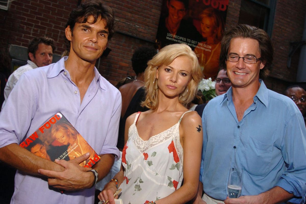 Matthew Kenney and Sarma Melngailis, authors, with Kyle MacLachlan (Photo by Theo Wargo/WireImage)