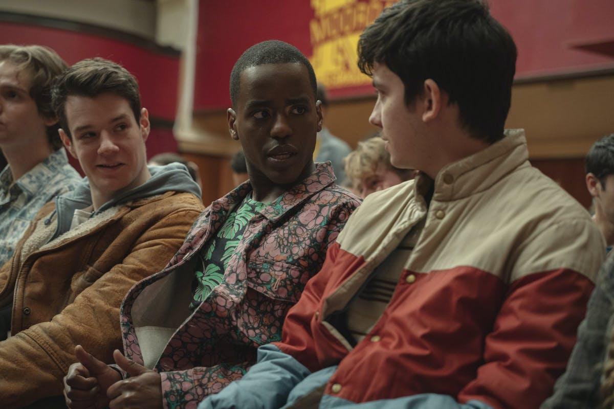 Ncuti Gatwa and Asa Butterfield in Sex Education season 3