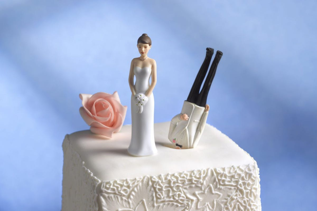 Bride and groom cake topper