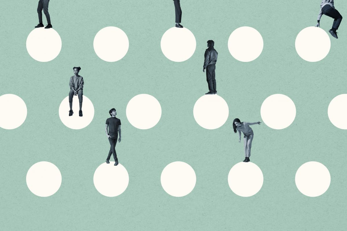 people standing on white dots