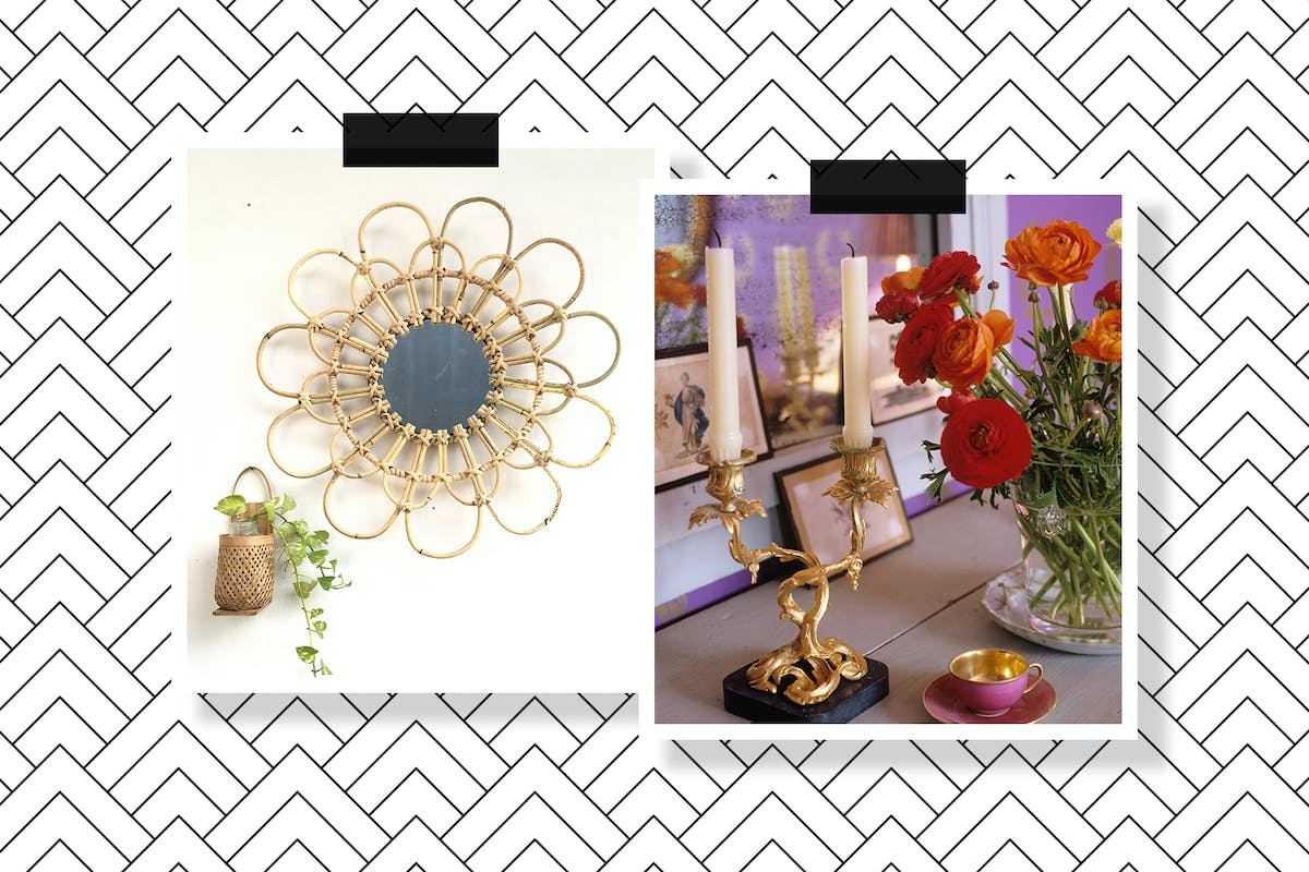 A natural wicker mirror and a vintage candlestick