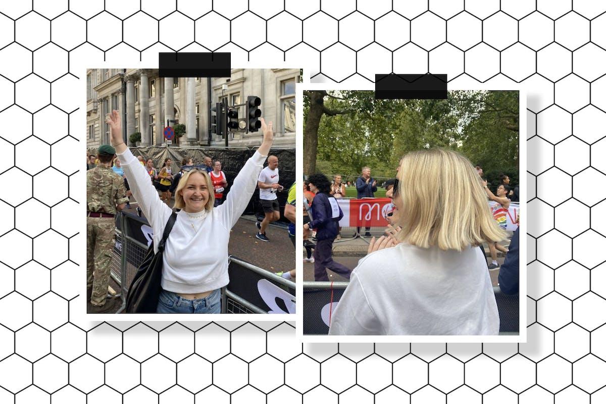 woman watching london marathon