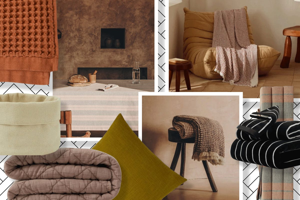 A collage of interior items
