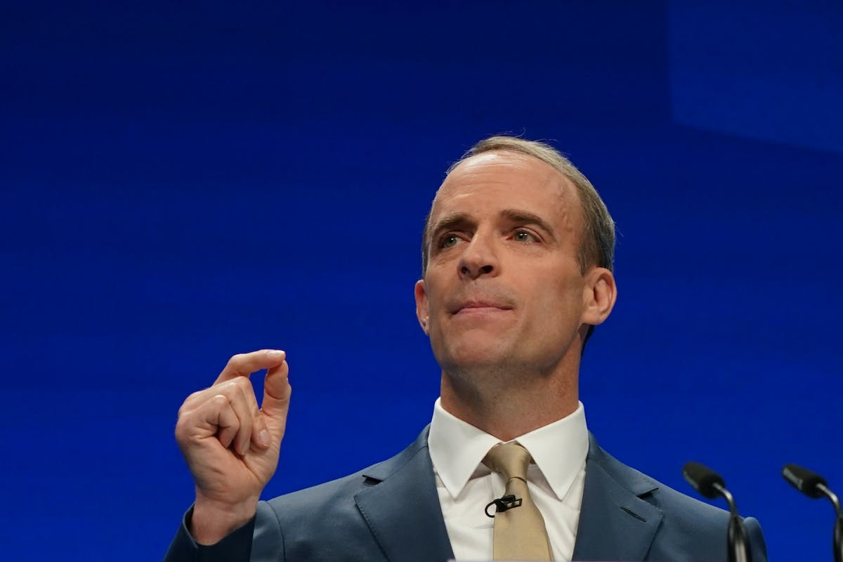 Dominic Raab speaking at the Conservative Party Conference