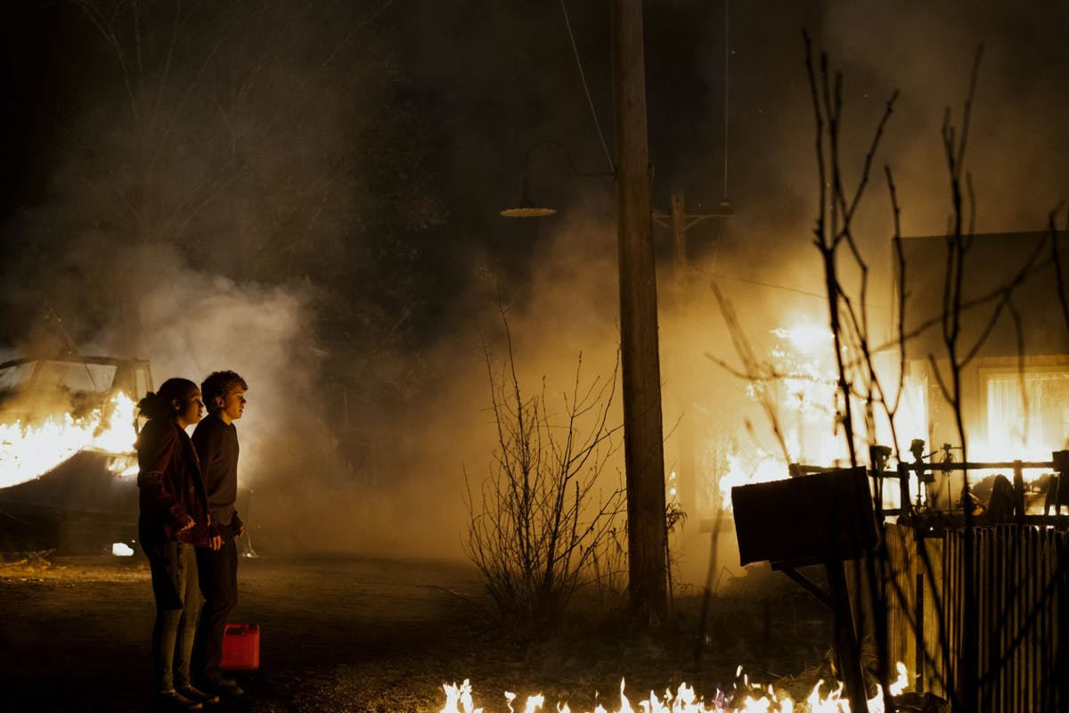 A burning house from Midnight Mass on Netflix