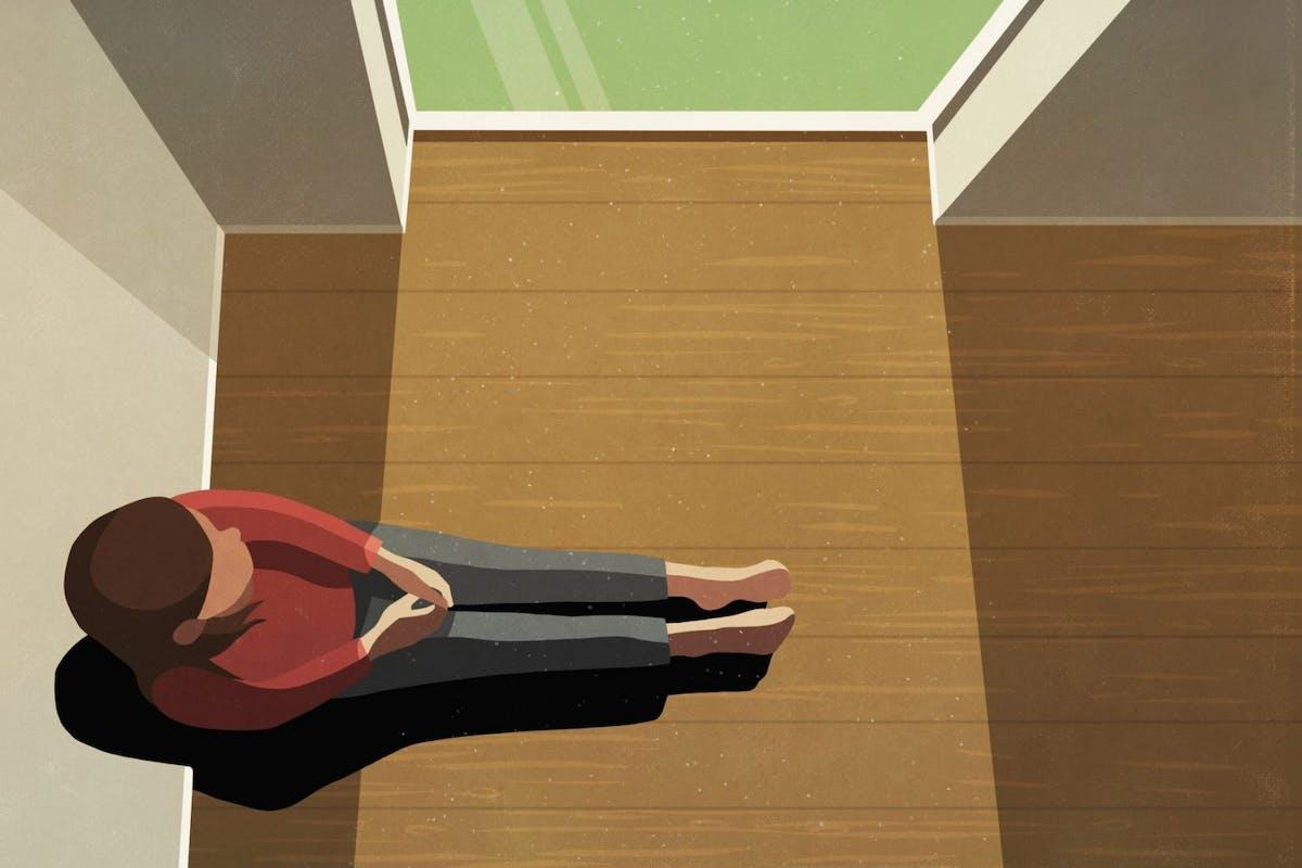 Stock illustration of a woman sitting near a window
