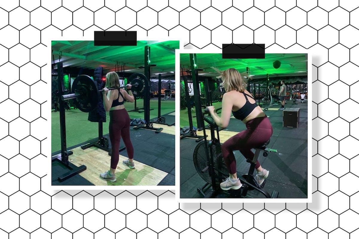 woman crossfit training gym