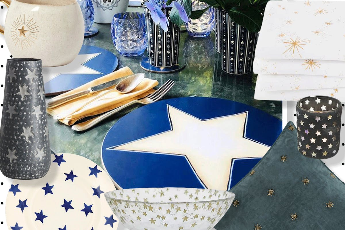 A collage of star print homeware items