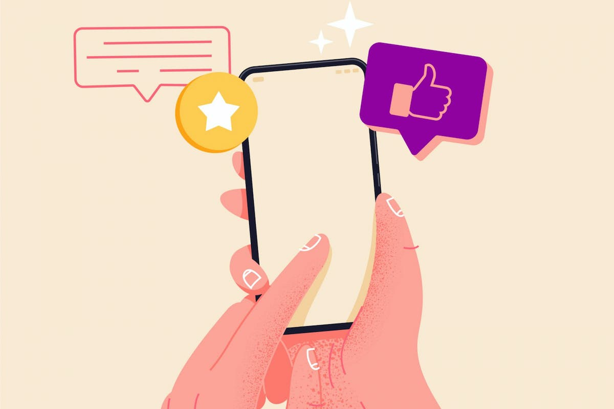 An illustration of a hand holding a phone using social media